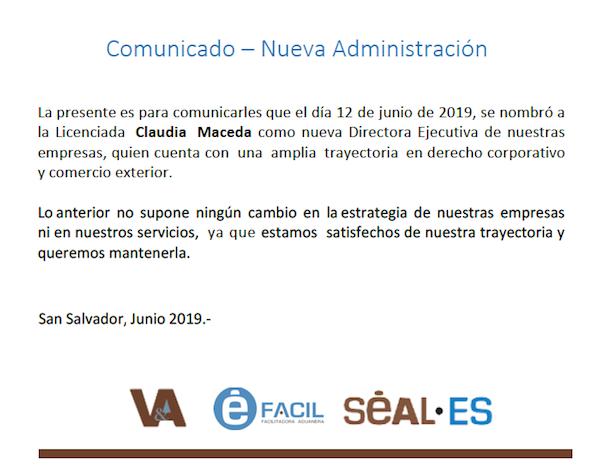 Comunicado - Nueva Administracion